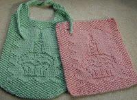 cupcake knit dishcloth or bib