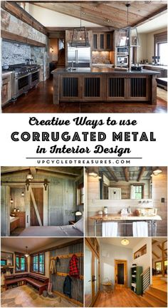Creative ways to use corrugated metal in Interior Design. If you're a fan of rustic industrial decor then you need to check out these creative ways to use Metal Building Homes, Metal Homes, Building A House, Morton Building, Rustic Industrial Decor, Industrial House, Kitchen Industrial, Rustic Decor, Farmhouse Decor