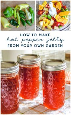 A quick and easy way to use peppers from your own garden with hot pepper jelly! Pour a generous helping of Mom's jalapeño pepper jelly on softened cream cheese, then snarf it down with crackers. It's great for holidays and parties, too! Banana Pepper Jelly, Hot Banana Peppers, Pepper Jelly Recipes, Jalapeno Jelly, Stuffed Banana Peppers, Spicy Appetizers, Appetizer Recipes, Jam Recipes, Canning Recipes