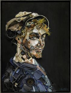 Artful portraits of environmental activists made from coastal trash