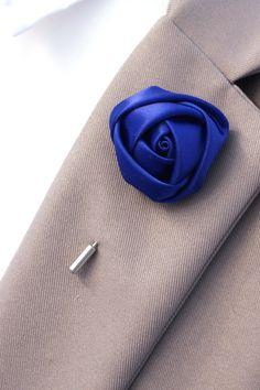 Royal Blue Liam Lapel Pin Satin Rosette Pin Mens by LiamsLapels Groom Accessories, Fashion Accessories, Kentucky Derby Fashion, Budget Fashion, Satin, Men Looks, Lapel Pins, Wedding Pins, Hair Pins