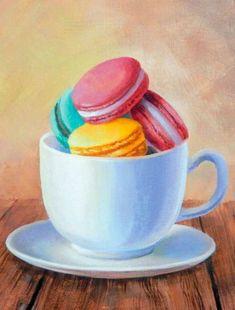 Painting Still Life: Macarons Cupcake Painting, Food Art Painting, Paris Painting, Cupcake Art, Fruit Painting, Still Life Drawing, Painting Still Life, Still Life Art, Inspirational Artwork