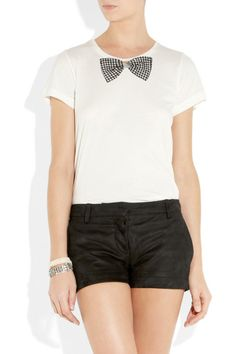 Bow Tie Accent Come into T-Shirt by Sonia by Sonia Rykiel: Bow tie-print cotton T-shirt by Sonia by Sonia Rykiel from front view