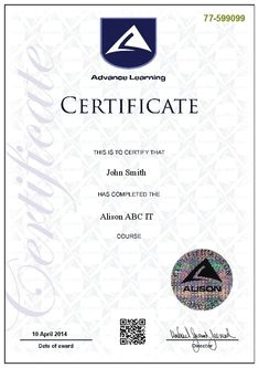 Sample parchment certificate from alison pinterest certificate are you looking for a free cost education where you can study a diploma or certificate courses free yadclub Gallery