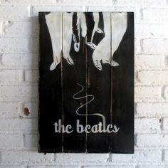 The Beatles.  Spray stencil on wood. 40 x 60 x 2 cm  #woodsign #homedecoration #homeandliving #vintage #alldecos