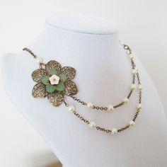 Vintage Flower  Necklace - Pendant Necklace, Statement Necklace - Bridesmaid, Wedding Necklace, Green Filigree Flower, Ivory Pearl, Brass. $27.00, via Etsy.