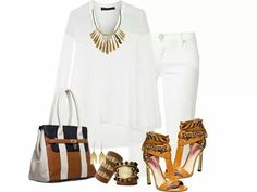 Accessories and sexy shoes with all white outfit!