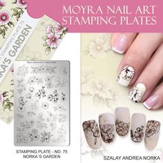 The designs of Norka's garden plate are special as their size are bigger than other plates' ones, so just a part of them can be placed onto the nail plate. Let your imagination fly and create a unique artistic nail design. Nail Art Stamping Plates, Nail Plate, Nailed It, Nail Supply, Manicure, Nail Designs, Nail Polish, Floral, How To Make