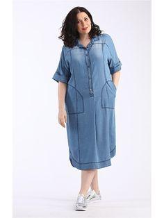 Лёгкое платье из тонкого тенсел денима. Платье с многочисленными отделками, с карманами, застежка-планка с металлическими пуговицами, рубашечный воротник, рельефы, кокетки. Цельнокроеный рукав с отворотом. Модель декорирована эффектом потертости и отстрочена темной нитью.