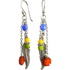 Colorful Silver Feather Czech Glass Earrings - Colorful Silver Feather Czech Glass Earrings
