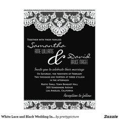White Lace and Black Wedding Invitation