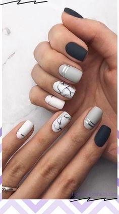 Summer Acrylic Nails, Best Acrylic Nails, Acrylic Nail Designs, Summer Nails, Line Nail Designs, Neutral Nail Designs, Gel Polish Designs, Black And White Nail Designs, Shellac Nail Designs