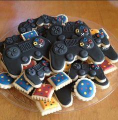 Controller Cookies by. Ivette Miranda - - Ideas of - Controller Cookies by. Iced Cookies, Cute Cookies, Royal Icing Cookies, Sugar Cookies, Video Game Cakes, Video Game Party, Playstation Cake, Cookie Games, Birthday Cookies
