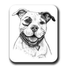 Happy Pit Bull Dog Art Mouse Pad Everything Else