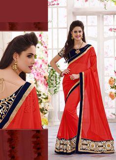 Red Wholesale Designer Saree Supplier Shop