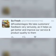Hi everyone following the recent Foodie in Lagos Tales post on the blog So Fresh reached out.  This shows that these establishments listen to your feedback. Be sure to send in your experiences to Foodie in Lagos via DM email or on Twitter and we will be sure to do the needful.  Have a lovely day all  and looking forward to receiving your messages   #FoodieinLagosTales  #FoodieinLagos