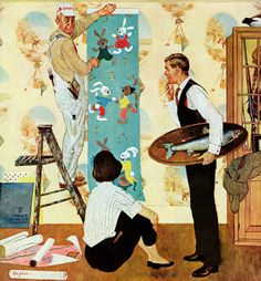 Den Into Nursery, art by George Hughes.  Detail from Saturday Evening Post cover - November 22, 1958.