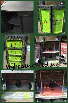 DIY teenage mutant ninja turtle sewer lair. DIY crafts, storage, shelf, plastic shelf, upcycled, repurposed, tmnt, dollhouse, superhero house, homemade, hand painted. Www.mybrainchild.net mybrainchild@outlook.com DFW