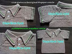 Crystal Arte Crochê: Gola Polo para Bebê em Crochê