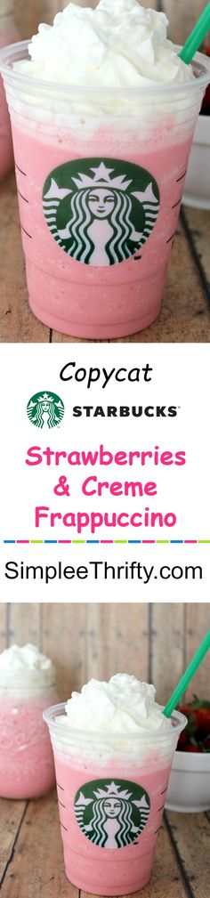 Here is another delicious drink to try! Copycat Starbucks Strawberries and Creme Frappuccino. This is a great way to save and get your favorite drink for less! Cocktails, Non Alcoholic Drinks, Fun Drinks, Yummy Drinks, Beverages, Starbucks Secret Menu, Starbucks Drinks, Starbucks Coffee, Coffee Drinks