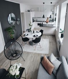 26 Awesome Small Living Room Ideas For Apartment 26 Awesome Small Living Room Ideas For Apartment Marina Nolting Wohnen If you ve ever struggled with how to nbsp hellip Room kitchen Small Apartment Living, Small Living Room Design, Small Living Rooms, Home Living, Living Room Designs, Living Room Decor, Living Room Grey, Small Dining, Dining Room