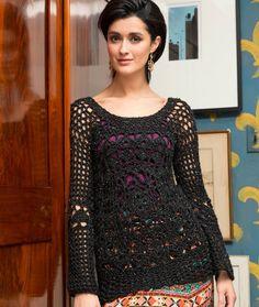 Date-Night Lacy Sweater Free Crochet Pattern in Red Heart Yarns