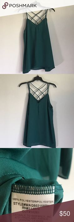 RO&DE Strappy Green Tank Criss Cross of strappy back detailing. Teal Topaz color. Ro & De Tops Tank Tops