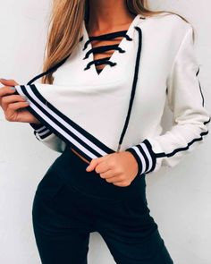 Pin: Heatonminded | Black and White Laced up hoodie |