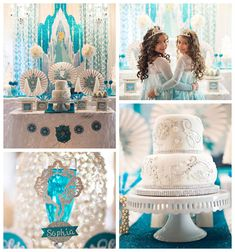 Glamorous Frozen themed birthday party via Kara's Party Ideas KarasPartyIdeas.com Cake, invitation, supplies, banners, tableware. and more! #frozen #frozenparty (2)