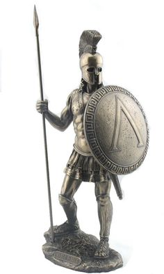 Gladiator-Spartan Warrior with Spear and Shield Art Sculpture Statue Figurine from the Greek and Roman Reproduction Sculpture Collection available at AllSculptures.com