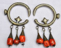 Morocco - Gilt silver and coral antique earrings