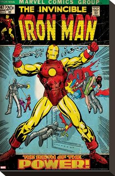 Iron man stretched canvas comic book cover