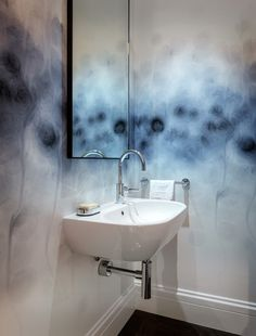 How To Artfully Introduce a Watercolour Motif  LOVE this wall!!! Contemporary Powder Room by Sutro Architects