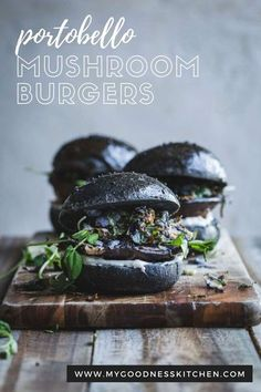 With juicy portobello mushrooms with roasted wasabi roasted sprouts and greens, this vegan burger is a flavour exposion! Impress your friends and make your own easy charcoal brioche bun | #portobello #mushroomburger Vegetarian Sandwich Recipes, Vegetarian Recipes Dinner, Vegan Dinners, Veggie Recipes, Cooking Recipes, Hamburger Recipes, Veggie Food, Dinner Recipes, Vegan Sandwiches