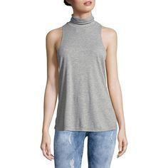 Free People Women's Topanga Sleeveless Turtleneck Top ($20) ❤ liked on Polyvore featuring tops, grey, no sleeve turtleneck, sleeveless turtleneck tops, sweater pullover, white top and turtleneck pullover