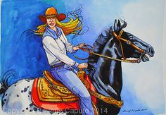 "She Rides A Black & White Appaloosa by Beverly Caputo Watercolor ~ 13"" x 18"""