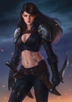 f Half Elf Fighter Plate Armor Sword village mountains rain Fantasy_Arts Fantasy Girl, Chica Fantasy, Fantasy Women, Female Character Design, Character Concept, Character Art, Concept Art, Armor Concept, Female Armor