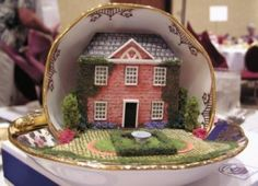 teacup house ||| doll, house, dollhouse, miniature, tea cup, vignette, scene, diorama, mouse, mice