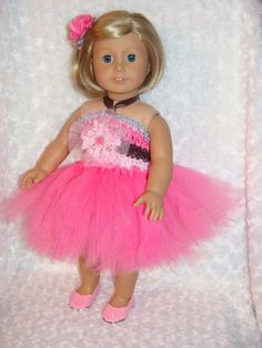 "Pink and Brown Tulle Tutu Dress Fits American Girl 15"" & 18"" dolls / Flower Girl Doll Dress / Doll Party Dress / Dress + Hair Clip + Shoes by mydollydreamboutique on Etsy"