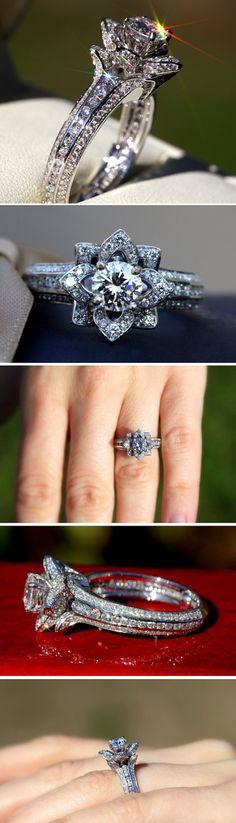 Gorgeous UNIQUE Flower Rose Diamond Engagement Ring - 2.00 carat - 14K white gold - wedding - brides - custom made - art deco - fL01. $4,500.00, via Etsy.