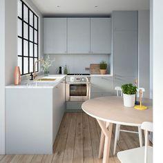 """139 curtidas, 5 comentários - Decoração de Interiores (@casa.pensada) no Instagram: """"Mais uma da série """"cozinhas pequenas e funcionais"""". Notem a quantidade de armários e de bancada!…"""""""