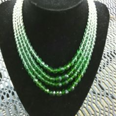 Vintage glass beads Elegant emerald green glass 4 strand beads perfect condition. na Jewelry Necklaces