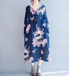 """Fabric; cotton Color; Blue Size Without limiting Shoulder Bust 132cm / 51 """" Sleeve 32cm / 12 """" Length 112cm / 44 """" Have any questions please contact me and I will be ha... #loose"""