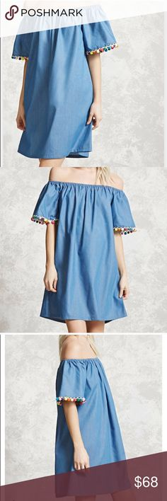 "🔥1 LEFT🔥CHAMBRAY POM POM OFF SHOULDER DRESS 💗Condition: New in package. No flaws, no rips, holes or stains. Jean fabric. Colorful pom poms on the sleeves. Measurements: length: 30"" will be a bit longer if you use it off shoulder. Bust armpit to armpit laying flat 18""-23"" (stretches).  💗Smoke free home/Pet hair free 💗No trades, No returns. No modeling  💗Shipping next day. Beautiful package! 💗ALL ITEMS ARE OWNED BY ME. NOT FROM THRIFT STORES 💗All transactions video recorded to ensure…"
