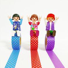 ヤッホーイ!やっと週末だーヽ(´ー`)ノ #playmobil #toys #MaskingTape #girl #boy #Red #Blue #purple #COLOR #child #dot #stripe #プレイモービル #プレモ #マスキングテープ #マステ #マステモビ #赤 #青 #紫 #色 #水玉 #ストライプ #MARKS #マークス