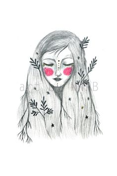 Nature girl. Art print. Illustration by Toshisworld on Etsy