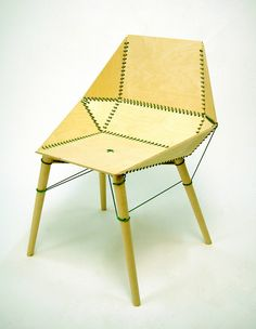 STITCH. A competition piece for Promesedia Challenge 2006. Awarded First prize. Chair in 4 mm plywood. No glue or screws are used, rather 17 m of nylon thread hold the pieces together. Designed by Sami Kallio.