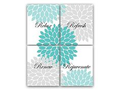 UNFRAMED PRINTS CHOOSE YOUR SIZES  Bathroom Wall Art Relax Refresh Renew Rejuvenate Aqua  Gray Bathroom Decor Modern Bathroom Art Set of 4 Bath Art Prints  BATH29 *** Continue to the product at the image link. (Note:Amazon affiliate link)
