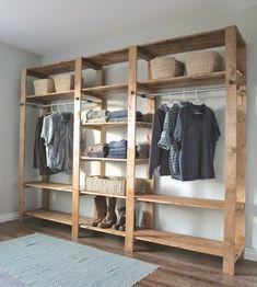 Diy Closet Shelves, Diy Wood Shelves, Closet Storage, Diy Shelving, Diy Storage, Diy Furniture Hacks, Diy Furniture Plans Wood Projects, Cheap Furniture, Rustic Furniture