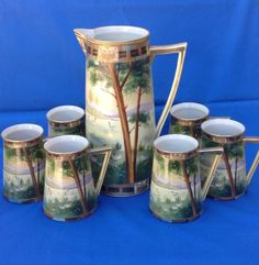 NIPPON HAND PAINTED BEER PITCHER WITH 6 MUGS STEINS, PORCELAIN, EARLY ART DECO #Nippon